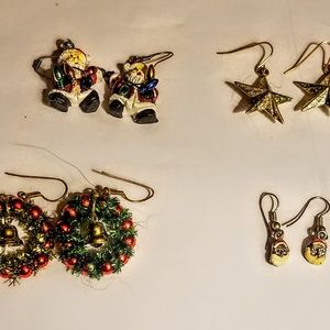 Set of 4 Christmas earrings